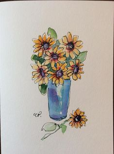 Vase of Sunflowers Watercolor Card / Hand Painted Watercolor Card
