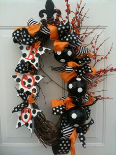 Halloween Boo Wreath Polka Dot Whimsy Door Decoration by mopheads