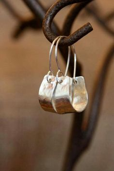Add textire? Simple silver rustic earrings