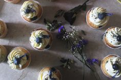 Blueberry Lavender and Mint Cupcakes Elopement Inspiration, Blueberry, Lavender, Cupcakes, Mint, Desserts, Food, Peppermint, Tailgate Desserts