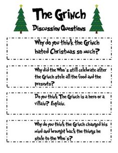 "A Sleighful of Language Arts Activities based on the book ""The Grinch"" – CCSS – Nadine Weininger – art therapy activities Grinch Christmas Party, Grinch Who Stole Christmas, Preschool Christmas, The Grinch, All I Want For Christmas, Christmas Writing, Classroom Fun, Holiday Classrooms, Classroom Language"