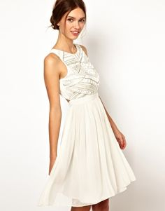 Aw, shoot, like this one, too! Love the back! Warehouse Shoulder Detail Embellished Bodice Dress