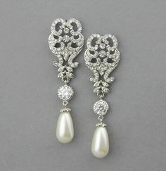 Wedding earrings, Chandelier Bridal Earrings, Pearl Drop Earrings, Vintage Wedding Jewelry , Crystal earrings - Style 548