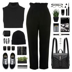 """""""220118"""" by rosemarykate ❤ liked on Polyvore featuring Topshop, Victoria Beckham, Vans, Monki, Bobbi Brown Cosmetics, Lux-Art Silks, NLY Accessories, Sephora Collection, Nails Inc. and Yves Saint Laurent"""
