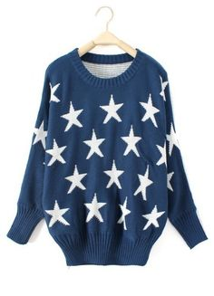 Blue Batwing Long Sleeve Stars Print Pullovers Sweater