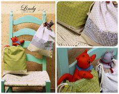 Saquinhos organizadores de tecido/Gatos de feltro   Fabric sacs and felt cats @ www.lindycrafts.com.br