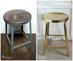 Check out this old metal stool makeover: from men's workshop to industrial glam! Stool Makeover, Furniture Makeover, Diy Furniture, Plywood Furniture, Modern Furniture, Furniture Design, Refurbished Furniture, Repurposed Furniture, Painted Furniture