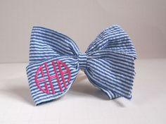 Monogrammed Blue Seersucker Hair Bow. $20.00, via Etsy.-- Ummm just fell in love