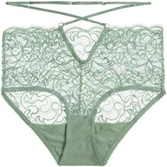 LonelyPenny Stretch-lace Briefs (1.300 RUB) ❤ liked on Polyvore featuring intimates, panties, lingerie, underwear, undies, gray green, high waisted lingerie, vintage style lingerie, lingerie panty and underwear panties