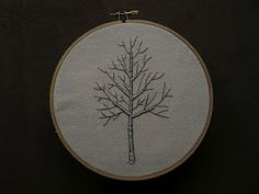 silver birch tree embroidery