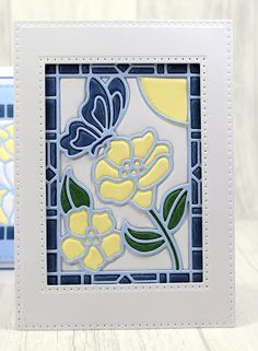 Happy Monday, I& back on Hochanda next Monday with the stunning new Stained Glass dies by Sue Wilson for Creative expressions. Homemade Greeting Cards, Homemade Cards, Butterfly Cards, Flower Cards, Patchwork Cards, Art Impressions Stamps, Spellbinders Cards, Window Art, Card Making Techniques