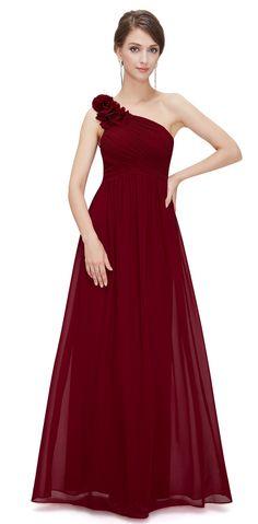 PIPPA Cranberry Berry Red Chiffon Corsage One Shoulder Bridesmaid Dress -  www.eloises-secret-closet.co.uk c72b1ada35af
