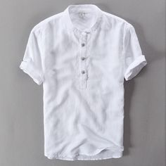 Summer Casual Men Shirts short sleeve solid color Linen Shirt Mens blouse High Quality Navy