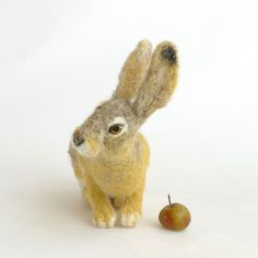 Hare/Needle felted hare/Felted hare/Felted animals/Soft sculpture/Wool/Natual fiber/Realistic animals/Home decor/Wool art/Collectible Soft Sculpture, Sculptures, The Artist, Needle Felted, Felt Animals, Hare, Rabbit, Crafts, Etsy