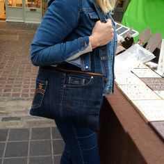 SALE, recycled denim bag, jeans bag, denim purse, fcuk, upcycled, man bag, jeansbag, envelope bag, repurposed denim denim, kindle,tablet by reloveduk on Etsy https://www.etsy.com/listing/515873863/sale-recycled-denim-bag-jeans-bag-denim