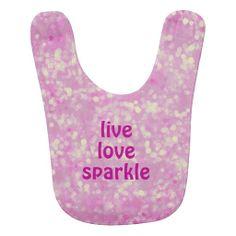 Girly Live Love Sparkle Pink Bokeh Baby Bib #baby #bib