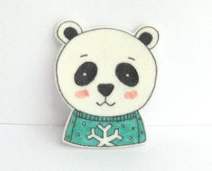 Bear with Sweater Brooch by okapiillustration on Etsy, $11.50