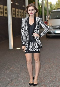 c7a0f5a082d Lily Collins wearing Balmain with Christian Louboutin pumps at a  Love