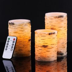 """Amazon.com: Bingolife Real Wax Birch Bark Effect Flameless LED Candles 4"""" 5"""" 6"""" with Remote Control & Timer: Home & Kitchen"""