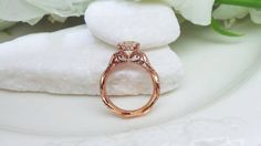 Rose gold and diamonds with a twist shank by David Klass Jewelry.
