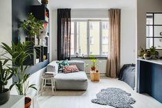 Studio apartment with blue touches