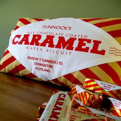 Tunnock's Caramel Wafer Screen-Printed Cushion by Nikki McWilliams
