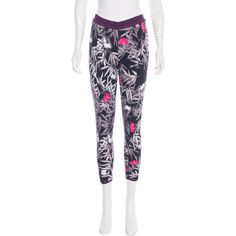 Pre-owned Stella McCartney for Adidas Leaf Print Skinny Leggings ($70) ❤ liked on Polyvore featuring pants, leggings, black, colorful leggings, patterned leggings, adidas, colorful pants and patterned pants