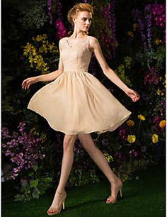 A-line V-neck Knee-length Chiffon And Lace Bridesmaid Dress ... – USD $ 79.99