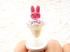 Kawaii Food Ring Ice Cream Sundae Rabbit Miniature Food Jewelry $15.00
