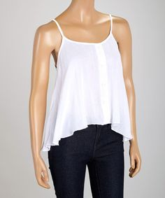 Another great find on #zulily! White Button Tank - Women by Jai Creations #zulilyfinds