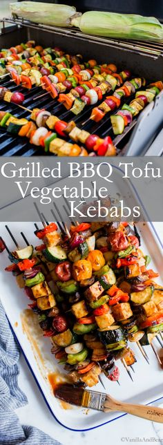 Saucy, tangy and so flavorful Grilled BBQ Tofu Vegetable Kebabs are simple to make and packed with late summer favorites! Saucy, tangy and so flavorful Grilled BBQ Tofu Vegetable Kebabs are simple to make and packed with late summer favorites! Vegetarian Grilling, Grilling Recipes, Healthy Grilling, Barbecue Recipes, Barbecue Sauce, Vegan Grill Recipes, Grilled Vegetable Recipes, Vegetarian Menu, Camping Recipes