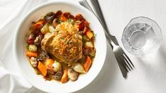 Normally this decadent French dish is an all-day affair, but thanks to the ingenious invention of a slow cooker, the chicken deepens in flavor while Slow Cooker Recipes, Gourmet Recipes, Crockpot Recipes, Chicken Recipes, Healthy Recipes, Dinner Recipes, Turkey Recipes, Delicious Recipes, Easy Recipes