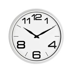Wall Clock, White Plastic, White Face