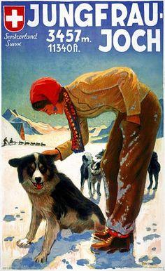 Jungfraujoch, Switzerland by Weiss. Vintage Ski Posters, Vintage Films, Retro Poster, Vintage Art, La Provence France, Fürstentum Liechtenstein, Jungfraujoch, Travel Ads, Travel Photos
