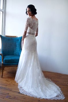 """French Lace and silk organza, 3/4 Sleeve Off the Shoulder Trumpet Gown, the """"Marisol-Celeste"""""""