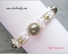 Beaded Bracelet Tutorial Pattern Crystal Blue Pearl by darlovely
