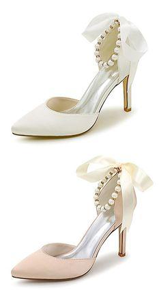 Women s Shoes Satin Spring   Summer Heels Stiletto Heel Imitation Pearl    Ribbon Tie Golden   Champagne   Ivory   Wedding 7bdabda8c33b