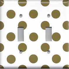 Chocolate Brown Big Polka Dots with White Background Light Switchplates & Outlets