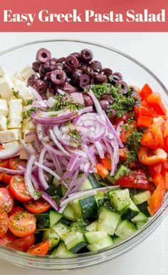 Cool Easy Greek Pasta Salad with a homemade vinaigrette pasta feta and olives is