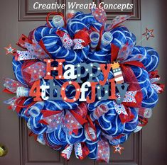 This collection of 20 awesome handmade of July wreath ideas is made to give you a lot of ideas about decorating for the holiday. Fourth Of July Decor, 4th Of July Decorations, 4th Of July Wreath, July 4th, Christmas Mesh Wreaths, Deco Mesh Wreaths, Door Wreaths, Wreath Crafts, Wreath Ideas