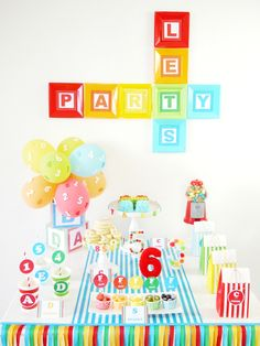 Feb 2015 - ABCs & Birthday Party for PBS Parents with FREE Printables - ideas on DIY decorations, food and favors for a boy or girl celebrations! Alphabet Birthday Parties, Alphabet Party, First Birthday Parties, Birthday Party Themes, First Birthdays, Birthday Recipes, Birthday Ideas, Birthday Celebrations, Barney Birthday