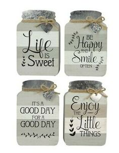 Add pastoral charm to your surroundings with this set of mason jar-inspired signs that feature heartwarming sentiments. Mason Jars, Mason Jar Crafts, Mason Jar Kitchen Decor, Dollar Tree Decor, Dollar Tree Crafts, Diy Signs, Wood Signs, Jar Gifts, Wood Cutouts