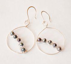 Peacock Freshwater Pearl Hoop Earrings by mlwdesigns on Etsy, $15.00