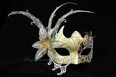 Laser cut Masquerade Mask - Luxury Venetian Filigree White / Gold Laser Cut Metal Flower