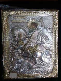Saint Demetrius Greek Byzantine Orthodox Icon Silver 19x15cm
