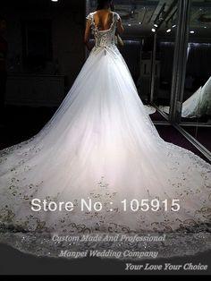Купить товар2013 реальный образец роскошные белая повязка с кристалл кружева монарх поезд бальное платье свадебные платья из органзы JC 112 в категории Свадебные платьяна AliExpress.                                                                   Описание продукта