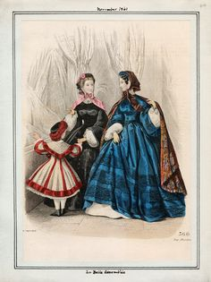 In the Swan's Shadow: La Belle Assemblee, November 1861.  Civil War Era Fashion Plate