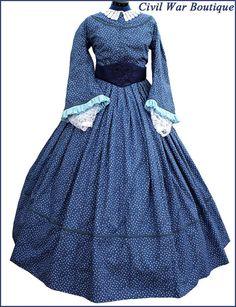 Angebot gilt für 4 Stück: 1. Bürgerkrieg viktorianischen Kleid. 2. Medici Taft bestickt Gürtel. 3. weiß 100 % Baumwolle Garn gehäkelt Kragen. 4. ein paar White Lace Undersleeves (oder ich kann ihnen mit weißer fester Baumwolle Undersleeves ersetzen).  Kleid ist aus 100 % Baumwollgewebe gefertigt. Aus einer authentischen Muster erstellt. Dies ist ein einteiliges Kleid.  Selbst Rohrleitungen um die Ärmel, Halsausschnitt und unten oben.  Mieder ist entbeint und voll ausgekleidet. Haken und…