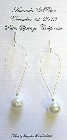 South seas shell or mother of pearl earrings for bridemaids. On custom wedding card. By Leighton Lam Designs. Made in Hawaii.