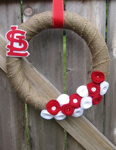 """14"""" Custom Felt Rosette and Burlap Team Pride Wreath with Felt Logo (STL Cardinals Pictured). via Etsy by living{ston} by design."""
